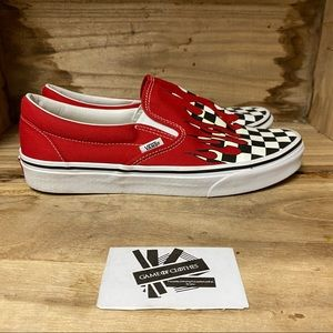 Vans flaming rally red white black sneakers shoes